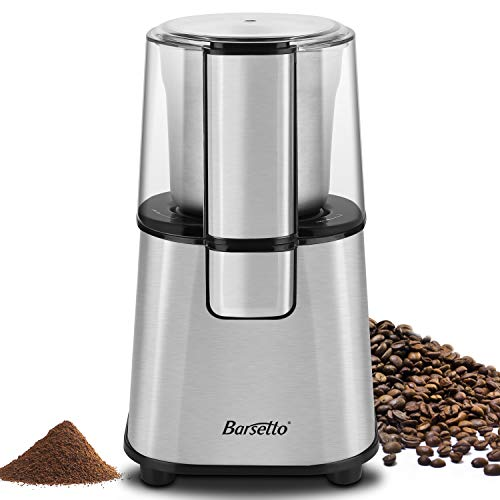 Barsetto Electric Coffee Grinder with Removal Coffee Powder Bowl, 200W Blade Spice Grinder,Stainless Steel