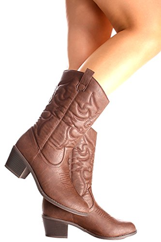 Ositos FAUX LEATHER MATERIAL STITCHED DESIGN CASUAL KNEE HIGH COWBOY BOOTS 10 brown