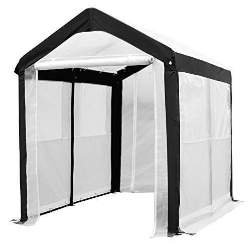 Abba Patio Large Walk in Fully Enclosed Lawn and Garden Greenhouse with Windows, 6 x 8 ft, White