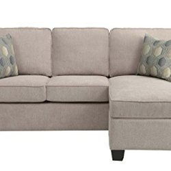Homelegance Clumber 82″ Reversible Sectional with Accent Pillows, Beige