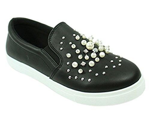Best Pearl Rhinestone Trendy Light Soft Dressy Summer Loafer Shoe for Women Ladies Teen Girl (Black Size 7.5)