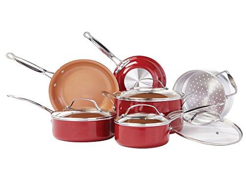 BulbHead (10824) Red Copper 10 PC Copper-Infused Ceramic Non-Stick...