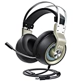 Mpow Gaming Headset (All-Platform Edition), with Mic, 50mm Drivers, Bass Boost Surround Sound, in-Line Control, Zero Fatigue Earpads, PC, PS4 Headset, LED Gaming Headphone for Xbox One, Switch