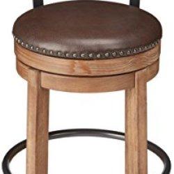 Ashley Furniture Signature Design – Pinnadel Swivel Bar Stool – Pub Height – Light Brown