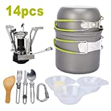 Hasde Camp Stove, Ultralight Portable Outdoor Camping Stove Hiking Backpacking Picnic Cookware Cooking Tool Set Pot Pan for Backpacking Outdoor Camping Hiking and Picnic
