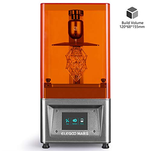 ELEGOO Mars UV Photocuring LCD 3D Printer with 3.5'' Smart Touch Color Screen Off-line Print 4.72'(L) x 2.68'(W) x 6.1'(H) Printing Size Silver Version