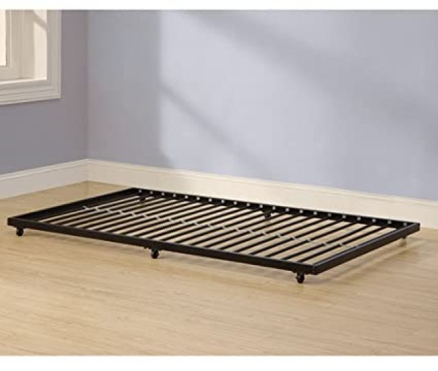 Amazon Com Twin Roll Out Trundle Bed Frame Black Finish Fits Under Almost Any Bed Kitchen Dining