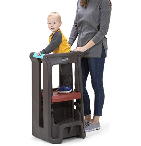 Simplay3 Toddler Tower Childrens Step Stool with Three Adjustable Heights (Espresso Brown)