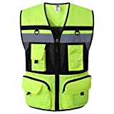 Hogear 11 Pockets Class 2 High Visible Reflective Safety Vest Breathable and Mesh Lining Workwear (Large, Yellow Black)
