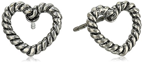 Open-heart stud earrings with woven-rope trims Imported MARC JACOBS