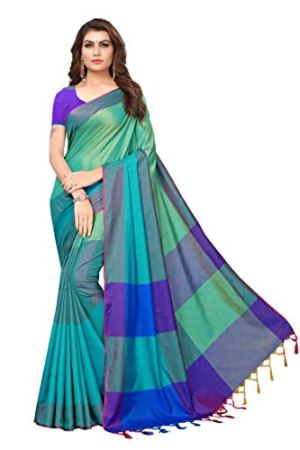 GoSriKi Art Silk Saree with Blouse Piece (IND058-RAMA_Rama_Free Size)