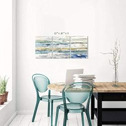 """Abstract Canvas Wall Art Prints: Seascape Painting Artwork Picture for Bedroom (16"""" x 12"""" x 3 Panels)"""
