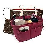 Felt Insert Fabric Purse Organizer Bag, Bag Insert In Bag with Zipper Inner Pocket Fits Neverfull Speedy 8010 Vine Red S