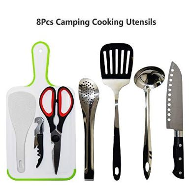 Gold-Armour-Camp-Kitchen-Utensil-Organizer-Travel-Set-Portable-BBQ-Camping-Cookware-Stainless-Steel-Utensils-Travel-Kit-Outdoor-Equipment-Cutting-Board-Tongs-Scissors-Knife-Ladle-Spatula