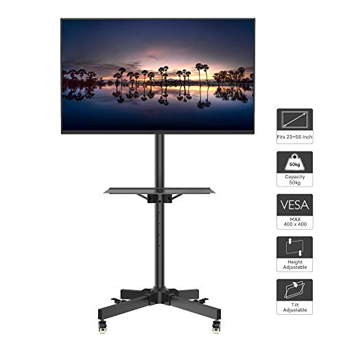 1home Mobile TV Cart Floor Stand Mount Home Display Trolley for 23'-55' Plasma/LCD/LED with Locking Wheels