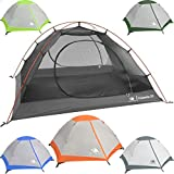 Hyke & Byke 2 Person Backpacking Tent with Footprint - Lightweight Yosemite Two Man 3 Season Ultralight, Waterproof, Ultra Compact 2p Freestanding Backpack Tents for Camping and Hiking (Orange)