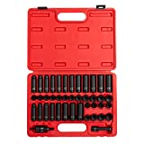 Sunex 3342, 3/8 Inch Drive Master Impact Socket Set, 42-Piece, SAE/Metric, 5/16 Inch - 3/4 Inch, 8mm - 19mm, Standard/Deep, Cr-Mo Alloy Steel, Radius Corner Design, Chamfered Opening, Dual Size Markings, Heavy Duty Storage Case, Meets ANSI Standards, Includes Universal Joint and Extensions