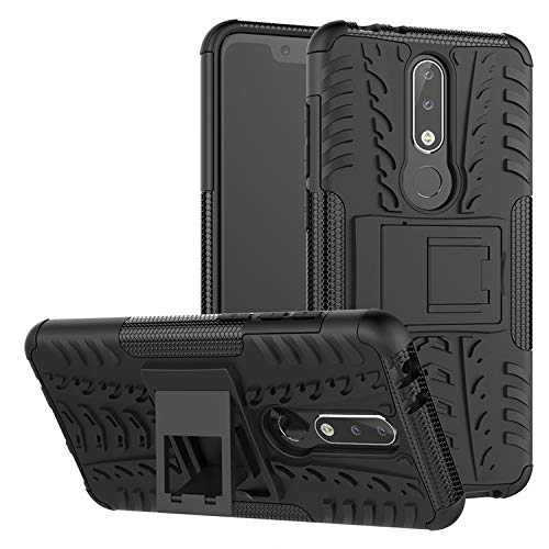 Prime Retail Nokia 5.1 Plus Hybrid Armor Back Cover Case with Kickstand Wheel Pattern for Nokia 5.1 Plus(Black) 89