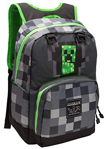 JINX Minecraft Creepy Creeper Kids Backpack (Grey, 17') for School, Camping, Travel, Outdoors & Fun