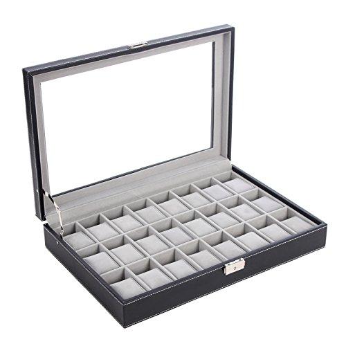 SONGMICS 24 Watch Box Large Watch Case Glass Top Black Display Organizer Faux Leather UJWB024