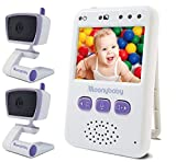 Baby Monitors with 2 Cameras by Moonybaby, Long Battery Life, Long Range, Non-WiFi, Color Screen, Auto Night Vision, 2 Way Talk Back, Zoom in, Power Saving, VOX, Voice Activation and Lullabies