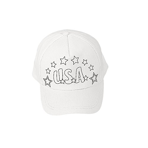 Fun Express Color Your Own Patriotic Baseball Hats for Fourth of July - Craft Kits - CYO - General - Fabric - Fourth of July - 12 Pieces