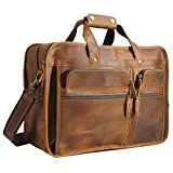 Polare Men's 17' Full Grain Leather Messenger Bag for Laptop Briefcase Tote