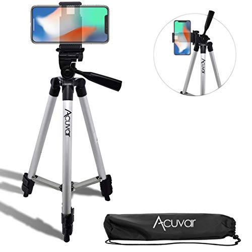Acuvar 50' Inch Aluminum Camera Tripod + Universal Smartphone Mount for iPhone Xs, Max, Xr, X, 8, 8+, Pixel 3, XL, Android Note 9, S10, S10+ & More Smartphones