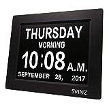SVINZ 3 Alarms Dementia Clock, 2 Auto-Dim Options, Large Display Digital Calendar Day Clock for Vision Impaired, Elderly, Memory Loss, Black, SDC008W