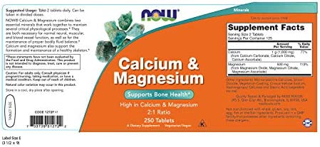 NOW Supplements, Calcium & Magnesium 2:1 Ratio, High Potency, Supports Bone Health*, 250 Tablets 4