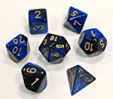 Chessex Dice FBA_26435 Polyhedral 7-Die Gemini Set - Black-Blue with Gold Chx-26435, Multicolor