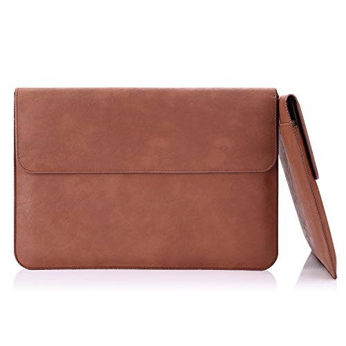 MoKo Sleeve Bag for New MacBook 12-Inch, PU Leather Protective Notebook Carrying Case Cover for New MacBook with Retina Display 12-Inch 2015 / Surface 3 2015 Version, with Built-in Card Slot, Brown