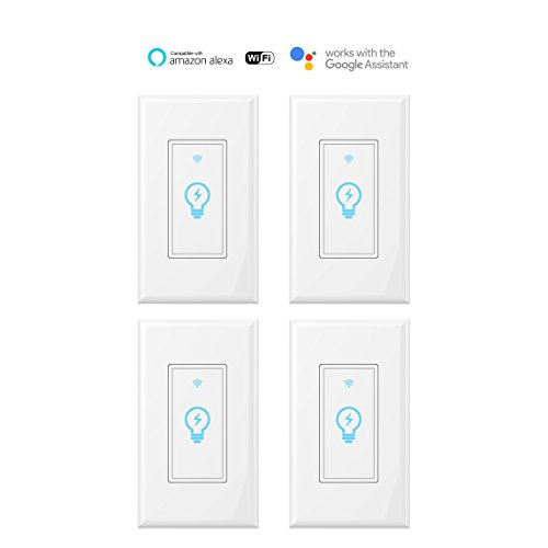 Smart Switch, WiFi Light Switch In-wall Wireless Compatible With Amazon Alexa and Google Home, Timing Function, Suit for 1/2/3/4 Gang Switch Box, Neutral wire require Micmi (Smart switch 4pack)