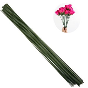 Arlai Pack of 50, Diameter 2mm Dark Green Paper Wrapped Floral stem Wire 16 Inch Floral Stem Wire – DIY Bouquet Stem Wrapping and Crafts