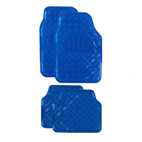 BDK MT-641-BL Universal Fit 4-Piece Set Metallic Design Car Floor Mat - Heavy Duty All Weather With Rubber Backing (Blue)