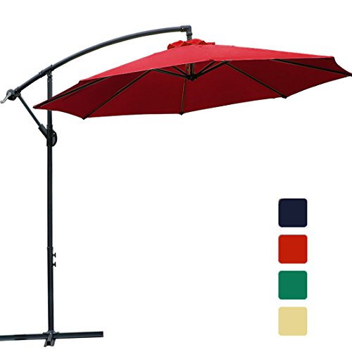 FARLAND 10 ft Offset Cantilever Patio Umbrella Outdoor Market Hanging Umbrellas & cranks Cross Base, 8 Ribs (10 ft, Red)