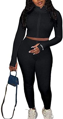 Adogirl Womens Fall Rib-Knit Pullover Sweater Top & Long Pants Set 2 Piece Outfits Tracksuit 3