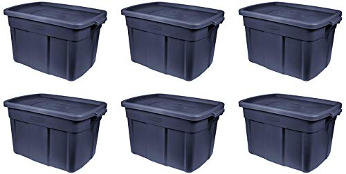 Rubbermaid Roughneck Storage Tote, 18 Gal, Dark Indigo Metallic, Pack of 6, Rugged, Reusable, Stackable, Container