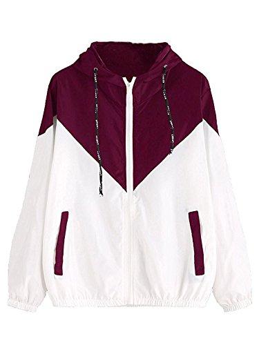 Milumia Women's Color Block Drawstring Hooded Zip Up Sports Jacket Windproof Windbreaker (XL/US 12, Maroon)