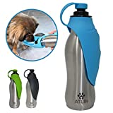 Atlin Dog Water Bottle - 304 Stainless Steel and Silicone - Leak-Proof Dog Bottle is Great for Walking, Hiking, Running and The Dog Park - 20 oz for Large, Medium or Small Dogs