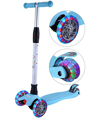 OUTON Kick Scooter for Kids 3 Wheel Lean to Steer Adjustable Height PU ABEC-7 Flasing Wheels Blue