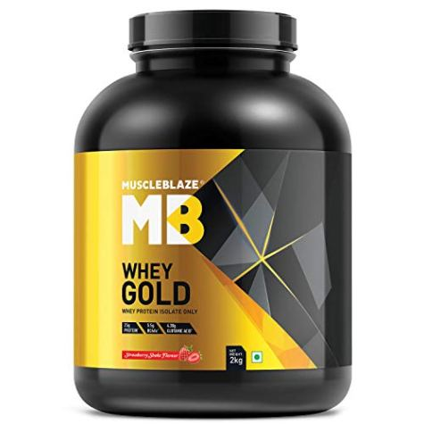MuscleBlaze Whey Gold 100% Whey Protein Isolate (Strawberry Shake, 2 kg / 4.4 lb)