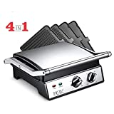 DEIK Electric Contact Grill Griddle, 1800W 6-in-1 Smokeless Indoor Grill with 4 Non-Stick Removable Plates, Heating Electric Tabletop Grill, Timer, Temperature Control,for Party/Home, Dishwasher-safe