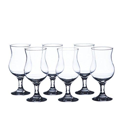 MADERIA Hurricane Cocktails Glasses Sets, 13 oz. (6-piece set, 12-piece set), Durable Tempered Glass, Restaurant&Hotel Quality (6)