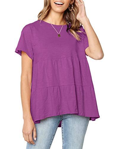 Women's Summer Loose Ruffle Hem Short Sleeve T Shirt High Low Peplum Blouse Tee (X-Large, Purple)