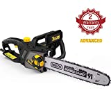 TECCPO Electric Chainsaw, 15A 16in Corded Professional Chainsaw with High Power Motor, Tool-Less Tensioning System, Mechanical Brake, 15m/s Chain Speed and Automatic Oiling - TACS01G