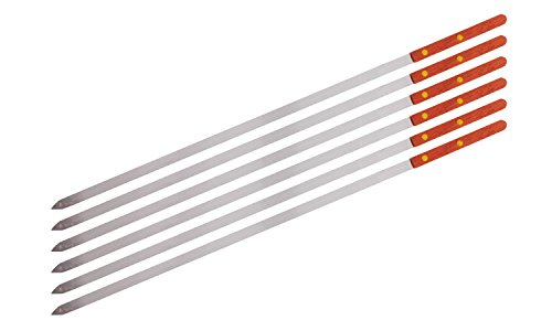 Premium Stainless Steel Wooden Handle BBQ Skewers for Shish Kebab, Turkish Grills & Koubideh, Brazilian-style BBQ, 23
