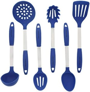Blue Kitchen Utensil Set – Stainless Steel & Silicone Heat Resistant Professional Cooking Tools – Spatula, Mixing & Slotted Spoon, Ladle, Pasta Fork Server, Drainer – Bonus Ebook