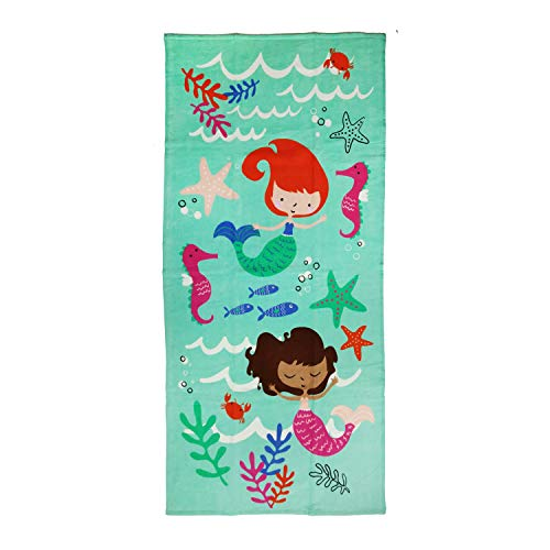 MainstayKids Youth Beach or Bath Towels, 60 Inches Long by 28 Inches Wide (Mermaid & Seahorses)