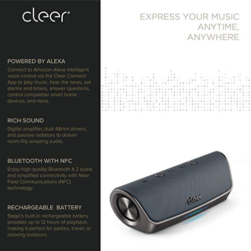 Cleer-Stage-Amazon-Alexa-Enabled-Portable-Bluetooth-Wireless-Speaker-Gray